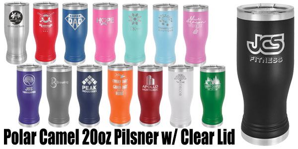 20oz Stainless Steel Pilsner w/ Clear Lid